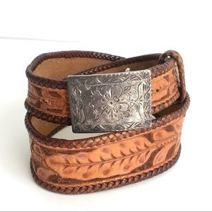 Vintage Hand Tooled Leather Belt Silver Buckle